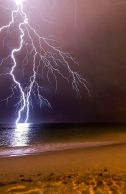 Lightning striking the sea. I used to watch nightly thunderstorms over the Atlantic when I lived at Cape May.
