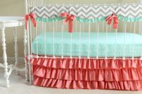 Bumperless Mint Coral Chevron Crib bedding by LottieDaBaby ...