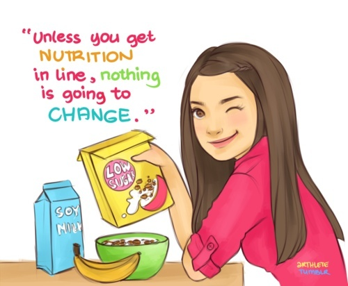 AMEN! you can exercise all you want but if you are not eating a wholesome, plant based, live food diet you are going to have the same old problems! the weight won't come off, period.   (p.s. if I was the artist I would have opted for oatmeal from bulk instead of processed cereals) :)