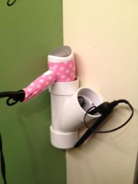 hair dryer and straightener holder   DIY   Pinterest