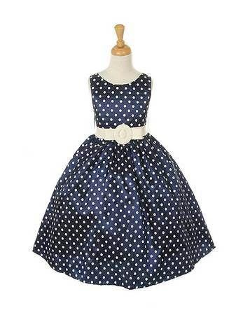 polka dot flower girl dress navy - wedding