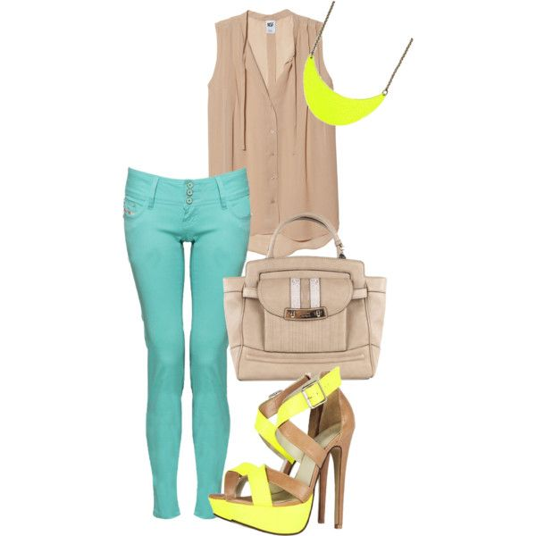 Beige / Nude, Turquoise, Neon Yellow Outfit Bright colors...