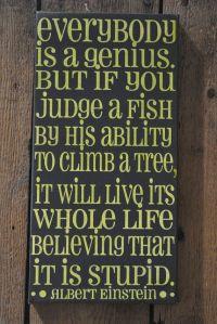 Everybody is a Genius - Einstein Quote - Unique Canvas Art ...