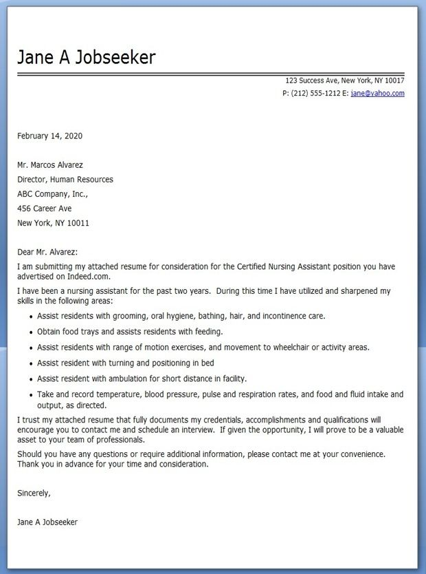CNA Cover Letter Example  Career Life  Pinterest