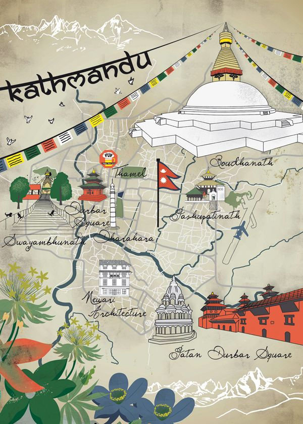 Kathmandu map Map Travel illustration Pinterest