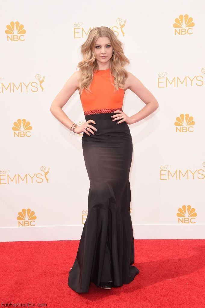 Natalie Dormer in J.Mendel dress at 2014 Emmy Awards.