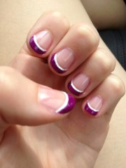 purple french tip nail design beauty