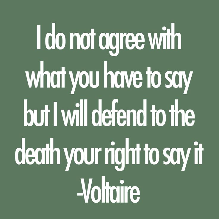 """Voltaire  : """"I do not agree with what you say, but I will defend to the death your right to say it"""". We need to remember this in today's political climate."""