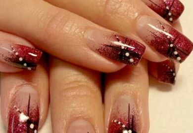 Nail Art Red Black And White