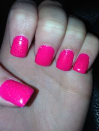 Hot pink with sparkles acrylic nails! | Beauty | Pinterest