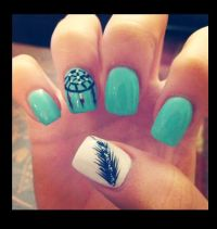Feather fingernail design | Nails | Pinterest