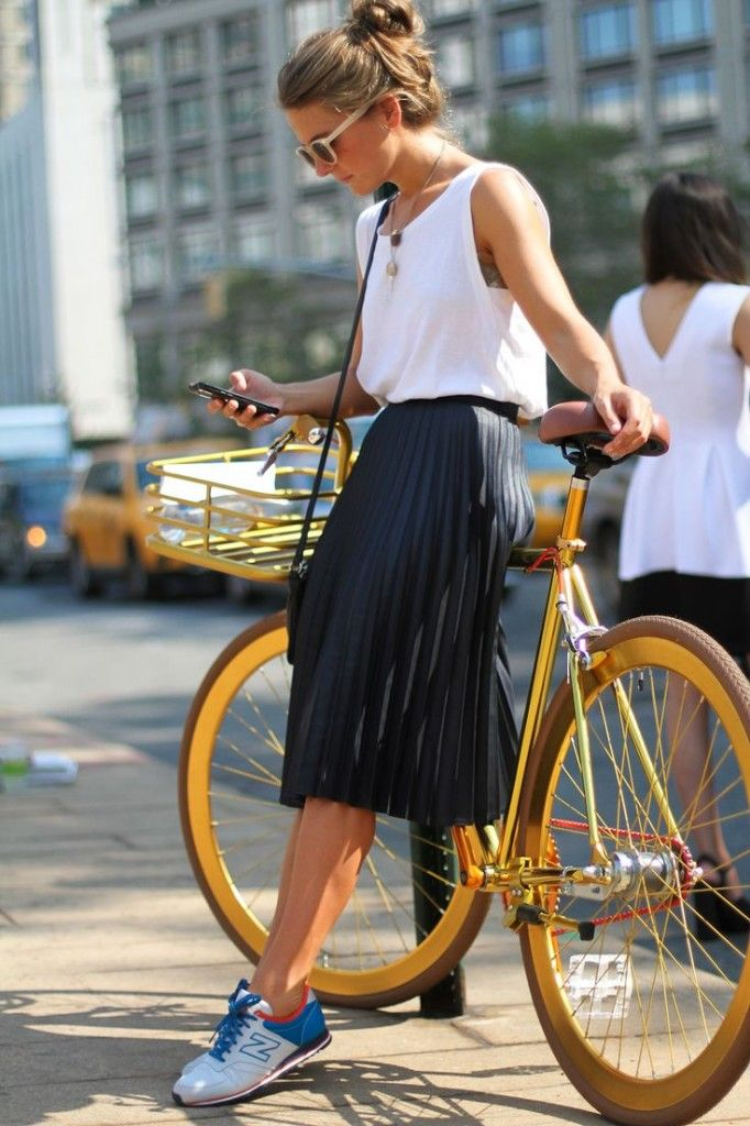 midi skirt + bicycle