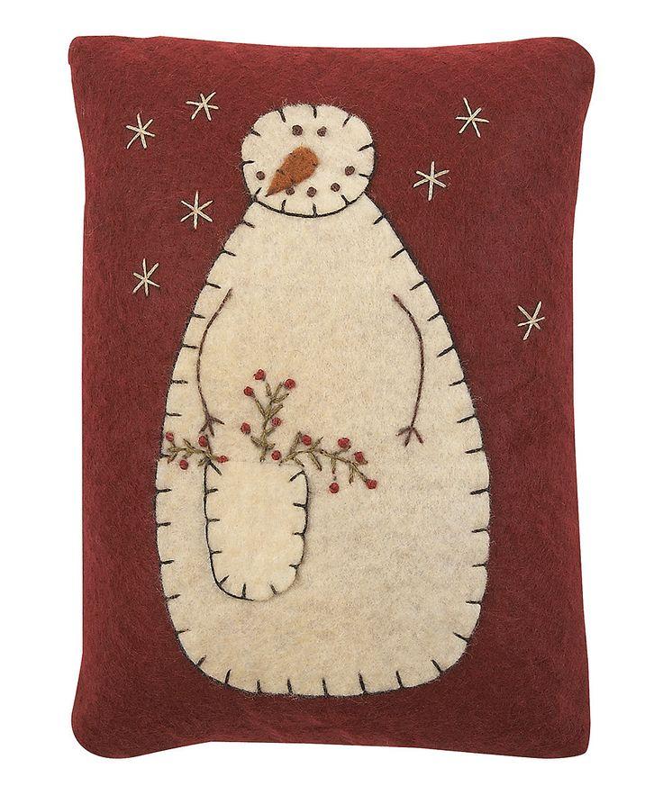 Red  Cream Snowman Pillow