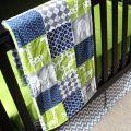 Custom crib bedding green navy blue and grey baby bedding ready