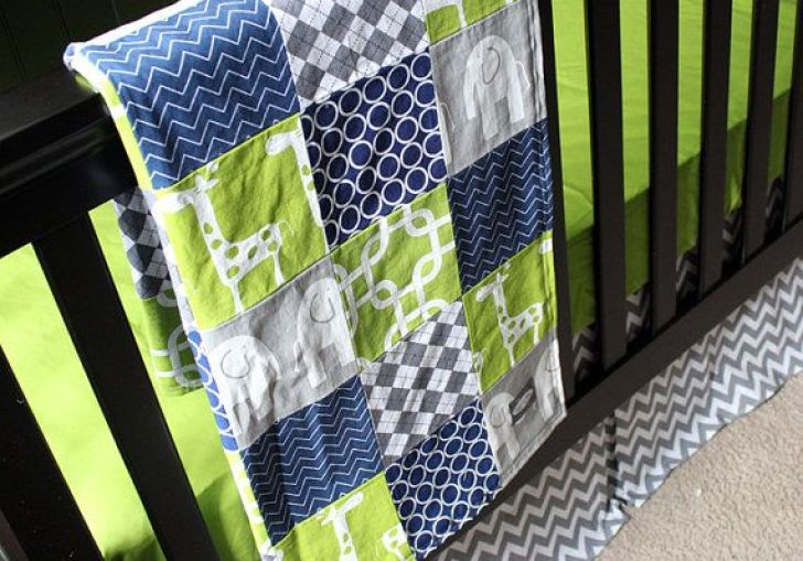 Navy Blue And Green Baby Bedding
