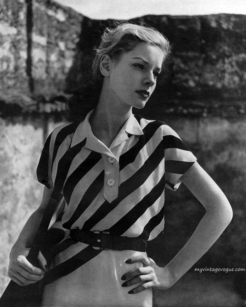 Harper's Bazaar May 1943, Lauren Bacall wearing a dress by Maurice Rentner