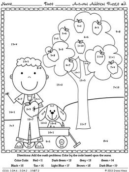Autumn Addition ~ Math Printables Color By The Code