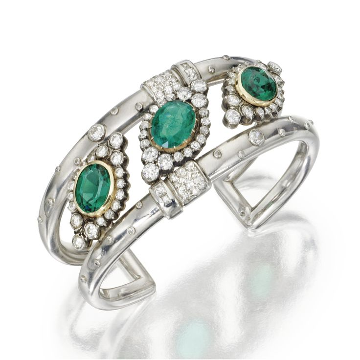 Platinum, silver, gold, emerald, paste and diamond cuff bracelet, Suzanne Belperron
