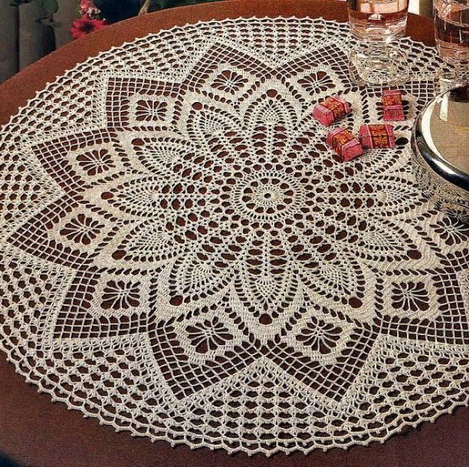 Elegant Decorative Crochet Tablecloth - Diagram follows