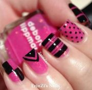 bright pink and black nail design