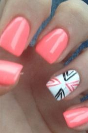coral nails with design horse