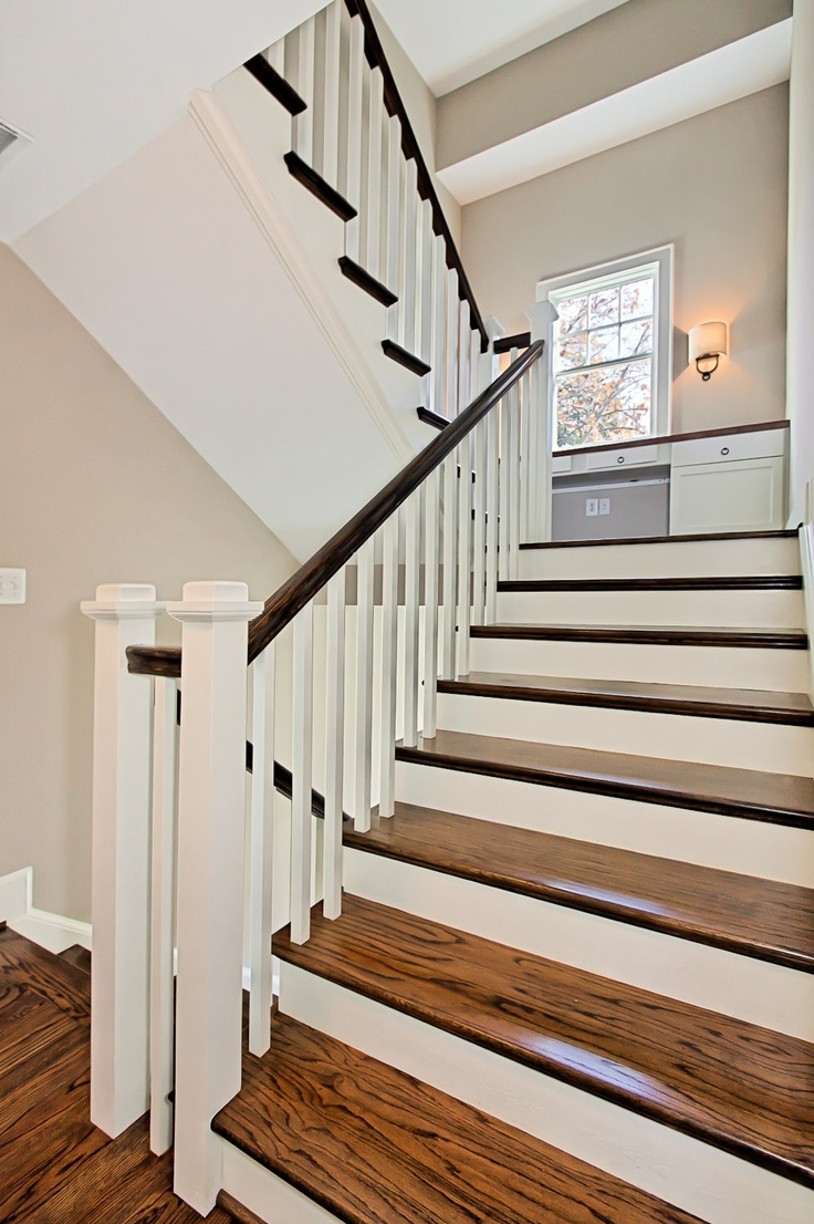 Wood Grain White Riser Open Stair   Wood Stairs With White Risers