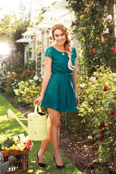 emerald green lace dress * LC Lauren Conrad fall collection