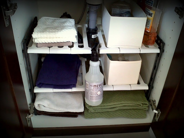 under the sink shelves