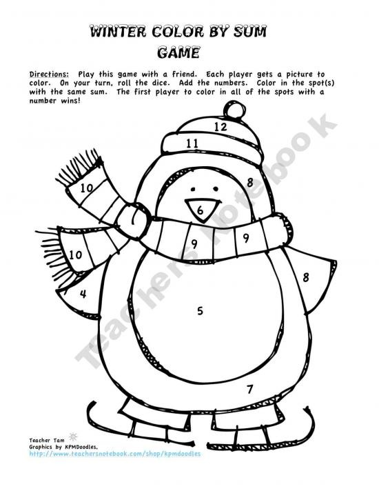 Color By Number Addition And Subtraction To 10 Winter