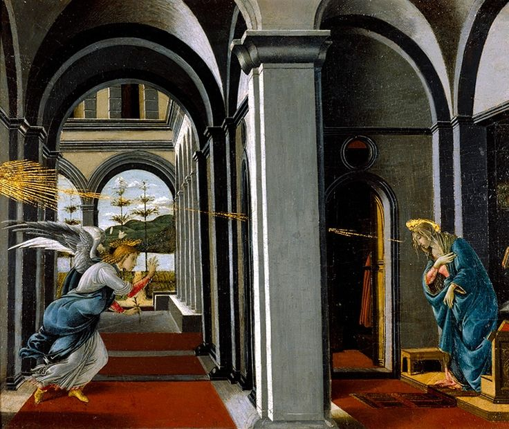 Sandro Botticelli (and Possibly Assistant), The Annunciation, ca. 1490–95. Glasgow Museums; Bequeathed by Archibald McLellan, 1856 (174). © CSG CIC Glasgow Museums Collection. Courtesy American Federation of Arts.