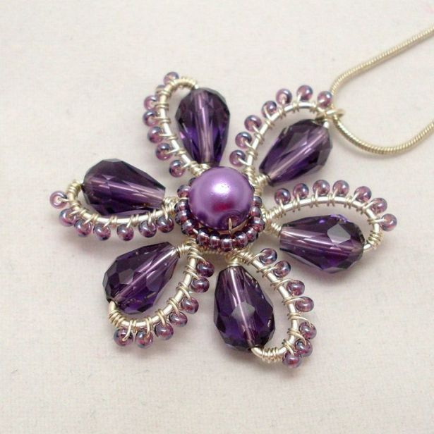 Wire Wrapped Flower Pendant