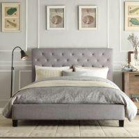 Gray tufted bed frame | Home | Pinterest
