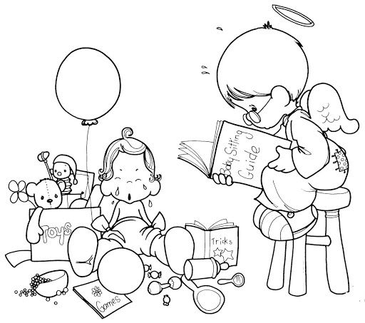 Guardian Angel Coloring Pages Sketch Coloring Page