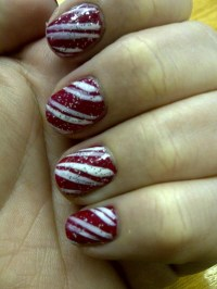 Candy cane nail art | My nail art | Pinterest