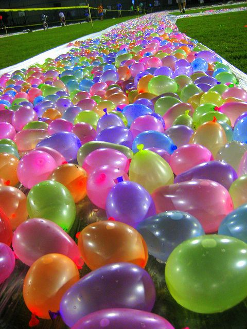Water balloon slip and slide!