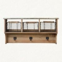 Wood shelf with chicken wire baskets | GOOD IDEAS | Pinterest