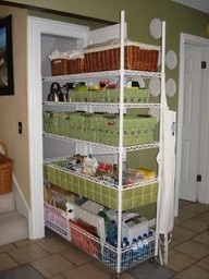 Closet roll out shelving. What a useful, inexpensive idea...