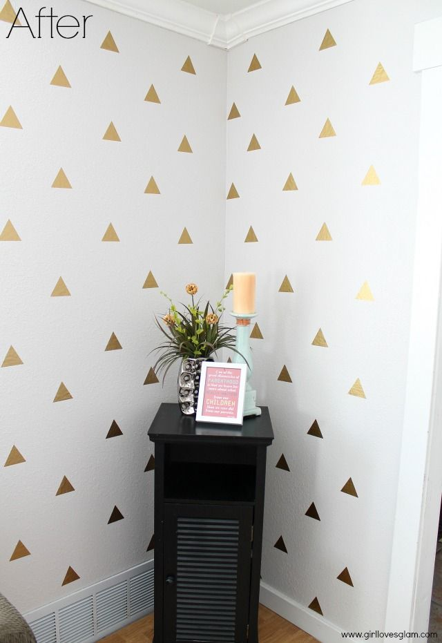 Gold Triangle Decal Wall Art put on that one column