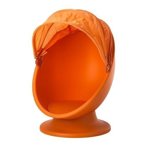 IKEA PS LOMSK Orange Swivel KIDS EGG CHAIR w Pull Down