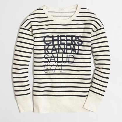 Factory cheers stripe sweatshirt