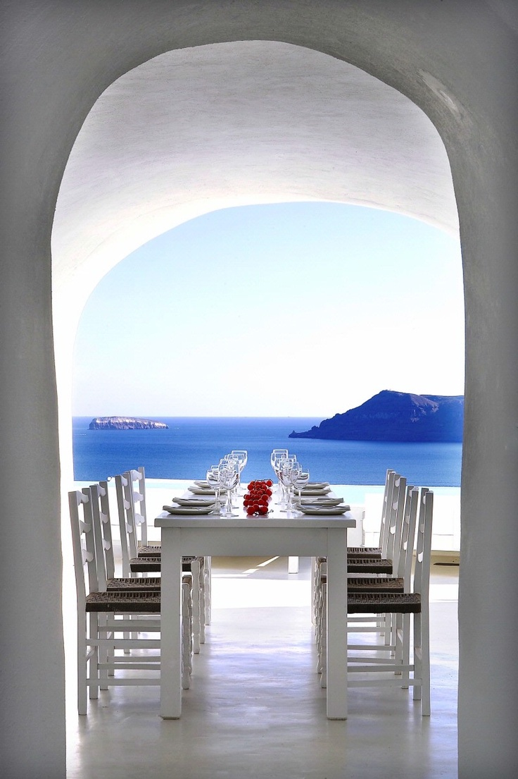 The White Cave Restaurant at Kirini Suites is carved into the earth. <3 www.myhoneymoonplanner.com