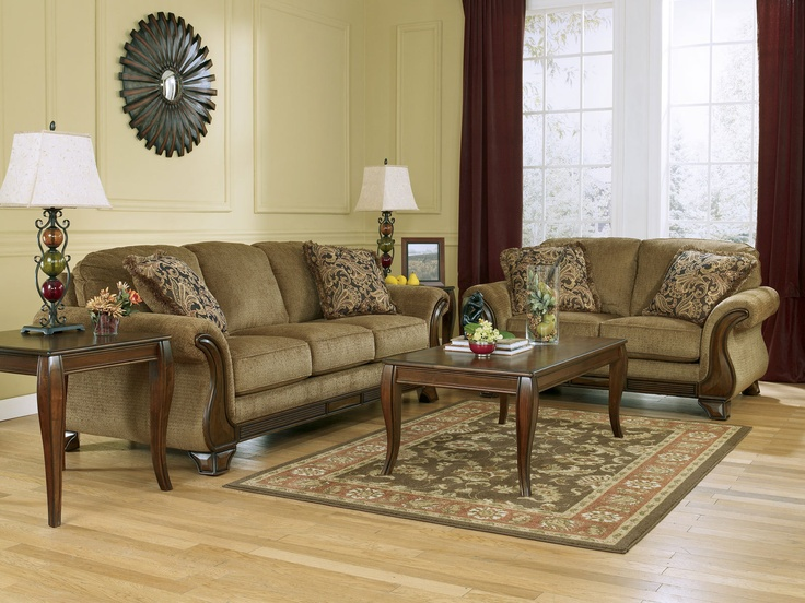 Santiago-traditional Brown Fabric Wood Trim Sofa Couch Set