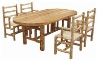 rustic log kitchen table and chairs set | Cabin Decor and ...