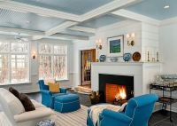 Coffered ceiling w beadboard. | Living Room | Pinterest