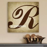 Personalized Caligraphy Monogrammed Canvas Wall Art