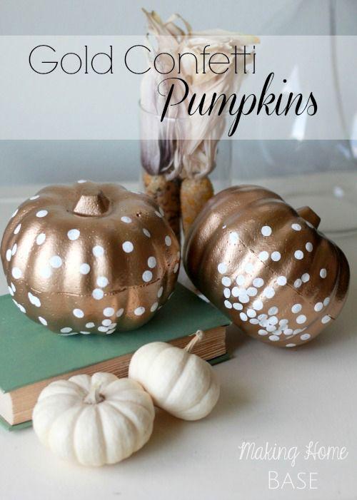 Pumpkin Decorating Ideas: Gold Confetti Pumpkins @Chelsea @ Making Home Base