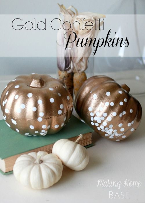 Pumpkin Decorating Ideas: Gold Confetti Pumpkins @Chelsea @ Making Home Base