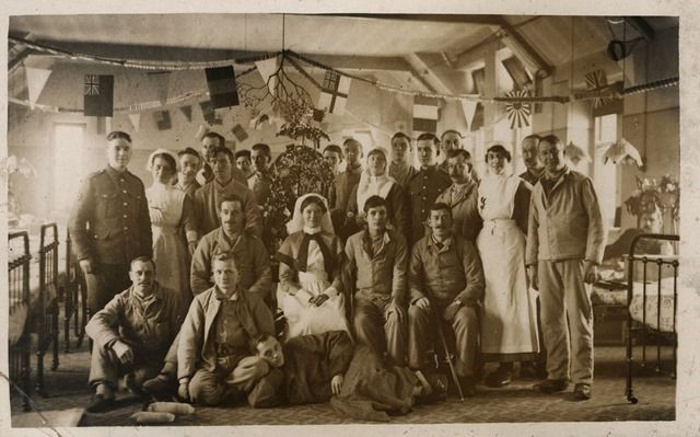 Christmas on Ward 26, 1916 Tyne & Wear Archives & Museums (UK) on The Commons (Flickr)  This photograph shows a view of patients and staff of Ward 26, 3rd Northern General Hospital, Sheffield. The photograph was taken at some time in December 1916 and documents the Christmas Celebrations for the patients. http://www.flickr.com/photos/twm_news/9490956967/