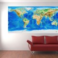 Global topography amp bathymetry world wall map w country labels and