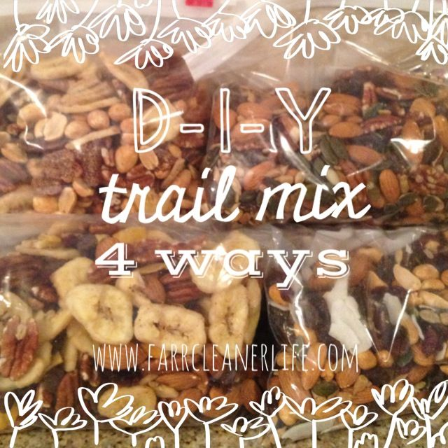 DIY Trail Mix 4 ways | Farr Cleaner Life  Healthy camping snacks, gluten free, paleo, eat clean backpacking snacks.